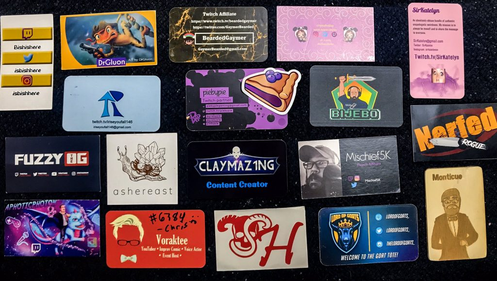 Assortment of streamer business cards collected by LyssateeTV