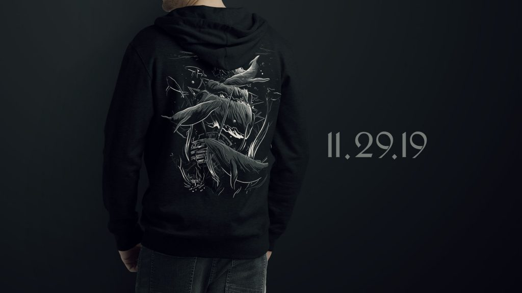 Example of B0aty's merchandise. Man wearing a hoody.
