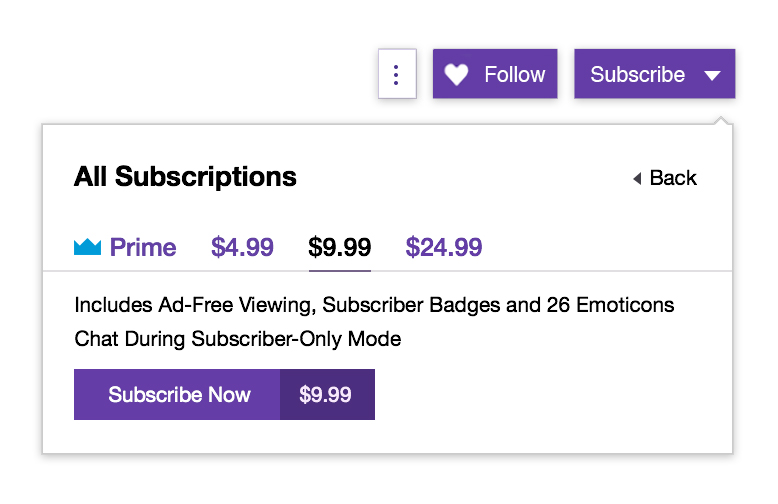 Twitch subscription tiers.