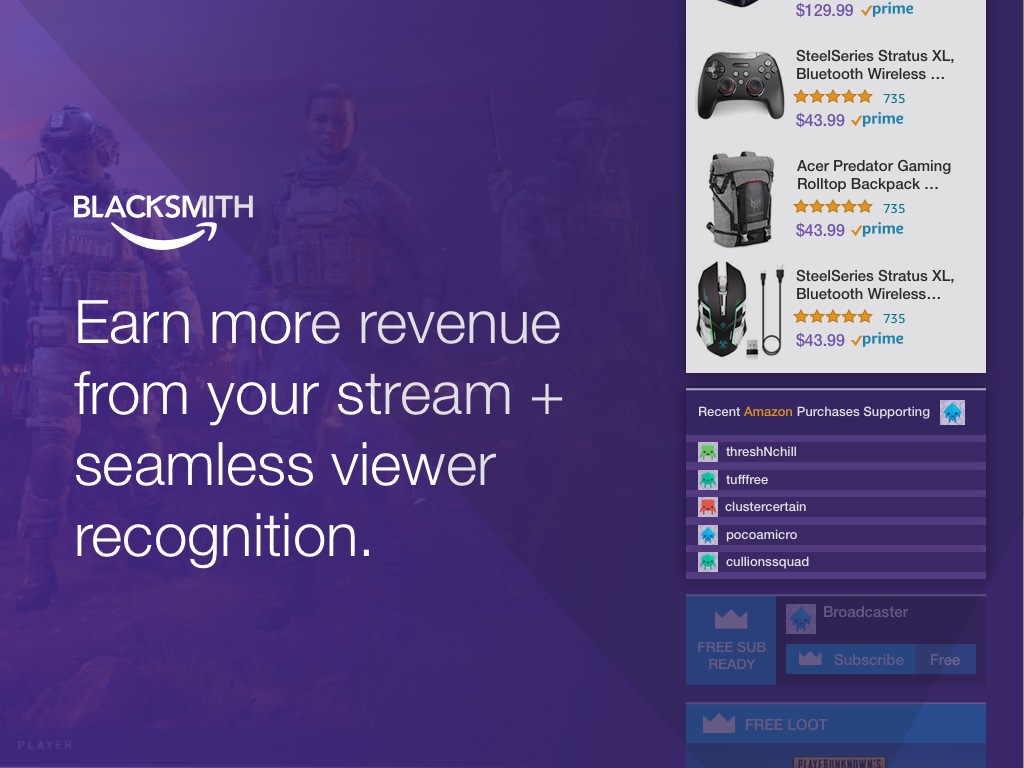 Amazon Blacksmith Twitch Extension Showcase