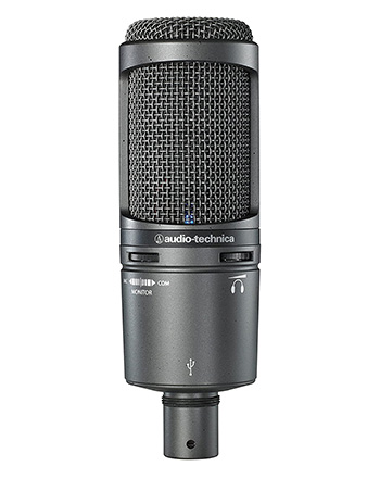 Audio Technica AT2020 USB+ Microphone close-up photograph