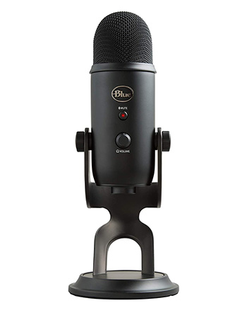 Full frontal photograph of the Blue Yeti USB streaming microphone.